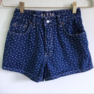 Vintage High Waisted Shorts with Daisy Print